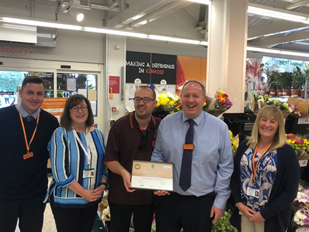 The Co-ordinator of Perth & Kinross Employability Network Jackie Scrimgeour presented the Gold Star Award to store manager Michael Bryant and colleague Michael Giles.  Looking on is customer experience manager Steven Bloomfield on the left & Karen Brown to the right who nominated Sainsbury's